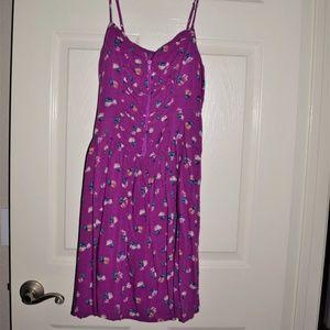 Xhilaration Purple Zip Front Floral Dress XL